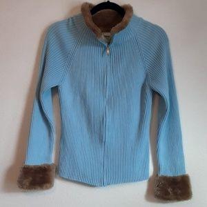 Liz Claiborne Pale Blue Knit Cardigan Zip Up XL